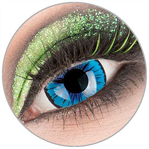 Farbige blaue 'Kami' Mini Sclera Kontaktlinsen ohne Stärke 1 Paar Crazy Fun 17 mm mit Behälter zu Fasching Karneval Halloween - Topqualität von 'Giftauge'
