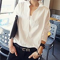 SHENHAI Camiseta manga corta, manga corta, manga larga, verano, nuevas sueltas, blancas, 5XL