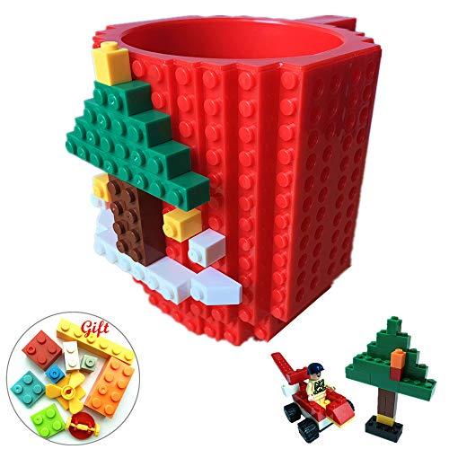 Lumsburry Building Brick Mug DIY Brick Tasse DIY Kaffeetasse Kreative Baustein Kaffee Tee Trinken Spaß Trinken Geschenk (Rot) (Rote Tassen Trinken)