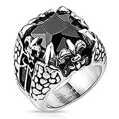 SIZE 14 ( Z+3 ) Black Square Faceted Onyx Gem Dragon Claw and Fleur De Lis Surgical Steel 21mm Width Ring