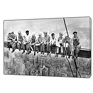 Construction Workers Having A Break in The Sky ON Wood Framed Canvas Photos Wall Art 20'' x 12 inch -38mm Depth