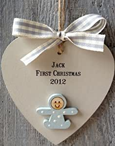 BABY'S FIRST CHRISTMAS PERSONALISED HEART. Handpainted, shabby chic style hanging xmas decoration in PINK OR BLUE