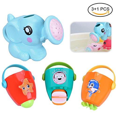 LegendTech Badespielzeug 4 STÜCK Baby Bad Spielzeuge Set Einschließlich Kind Bad Spielzeug Blauer Elefant Wasserspray Bunt Eimer Badewanne Dusche Pool Badezimmer Spielzeug Zum Kinder Baby