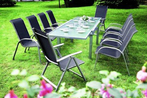 7-teilige Garnitur Amalfi, Alu + Kunststoffgewebe schwarz. 6x Stapelsessel, 1x Ausziehtisch Alu/Glas