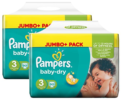 Pampers Baby Dry Größe 3 Midi 4-9kg Jumbo Plus Pack (2 x 90 Windeln)