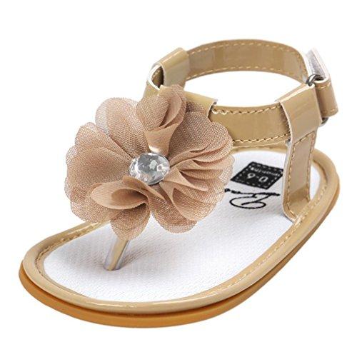 Longra Bébé Fleur Perle Des sandales Bambin Princesse Premiers marcheurs Filles Garçons Chaussures (11, Rose) Kaki