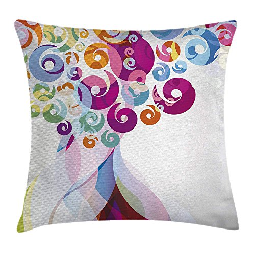 Modern Art Home Decor Throw Pillow Cushion Cover, Digital Whirlwind Textured Vortex Concentric Spirals Fantastic Artwork, Decorative Square Accent Pillow Case,Multi 18x18in