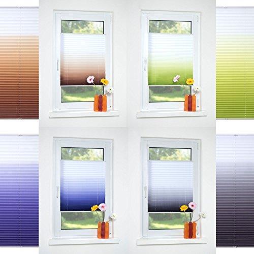 HOMELIA Klemmfix-Plissee Farbverlauf, Stoff: 100% Polyester, verspannt ohne Bohren oder Schrauben, 045 x 130 braun , blickdichte Transparenz, lichtdurchlässig, exklusives Design