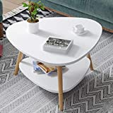 Silant Makers White Wooden Teardrop-Shaped Modern Surface Top Sofa Table for Living Room with Storage Open Shelf
