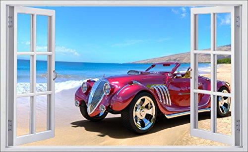 DesFoli Auto Car Oldtimer 3D Look Wandtattoo 70 x 115 cm Wanddurchbruch Wandbild Sticker Aufkleber F583