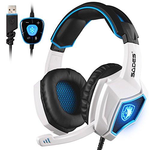PC Gaming Kopfhörer,Spirit Wolf 7.1 Surround Sound Stereo Stirnband Kopfhörer mit Mikrophon, Professionelle PC USB Gaming Headsets,tiefe Bässe,Over-the-Ear-Lautstärkeregler LED-Leuchten für Gamers (wei / blau)