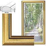 RAABEC Bilderrahmen, für Bilder der Größe 40x80 80x40 cm, Farbe Gold, ideal für Malen nach Zahlen Bilder von Schipper oder Ravensburger (ohne Glas)