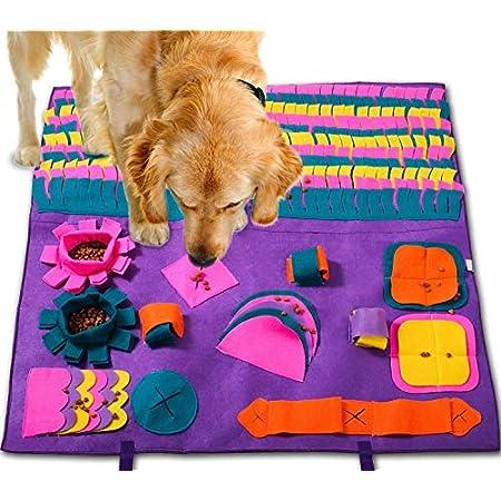 PATIO PLUS Schnüffelteppich Hund, 90x90cm Groß Pet Matten für Hunde Soft Pet Nase Arbeit Geruch Snuffle Matte Train Fütterung Faltbarer Filzstoff Schnüffelteppich