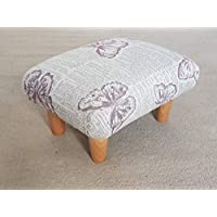 Butterfly small plain footstool with wooden feet low unique foot stool