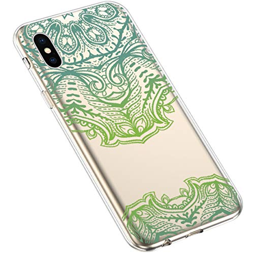 Uposao Kompatibel mit iPhone XS/iPhone X Handyhülle Transparent mit Muster Motiv TPU Silikon Schutzhülle Case Crystal Clear Handytasche Dünn Stoßfest Bumper Backcover,Grün Mandala Blumen