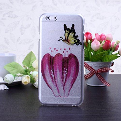 Bunte nette Karikatur-Blumen-Schmetterlings-Herz-Entwurf bereifte Mattplastik Hard Case für IPhone 6S 6 ( Color : 7 , Size : IPhone 6S 6 ) 5