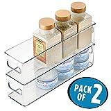 mDesign Juego de 2 bandejas de plástico para frigorífico o congelador – Útiles cajas apilables con asas para guardar alimentos y bebidas – Prácticos organizadores de nevera sin tapa – transparente