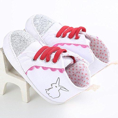 Ouneed® Krabbelschuhe , Mädchen Segeltuchschuh Baby Schuhturnschuh Anti Rutsch weiche Sohle Kleinkind Weiß
