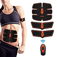 EMS Muscle Stimulator, Abs Trainer Stomach Toning Belt Abdomen/Waist/Leg/Arm/Buttock with 6 Modes, USB Rechargeable, Body Fitness Exercise Equipment