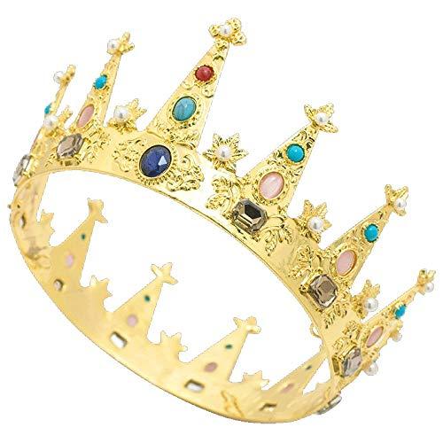 YNYA Diademe Braut Kronenkönigin Kaiserin Dübel Barock Kreis Krone Retro Haarschmuck Bühnenaccessoires Hochzeitsgeschenke (Kaiserin Der Prinzessin Kostüme)