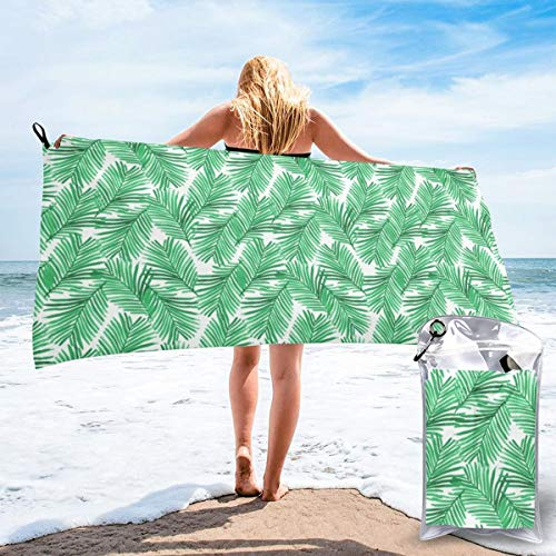 Pads bag Quick Drying Beach Towel Print Summer Tropic Exotic Summer Green Trendy Palms Oversized Extra Large Big Outdoor Travel Pool Beach Towel 27.5