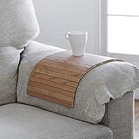bandeja de madera que se adapta al brazo del sofá, butaca o sillón y a la mayoría de superficies inestables, acabado cerezo, ideal para regalo