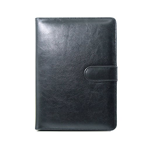 A5 Ringbuch Folio PU Leder nachfüllbar Loose Leaf Business Notebook Portfolio Executive Konferenzmappe Travel Portfolio Milchprodukte Notebook 95 Seiten schwarz