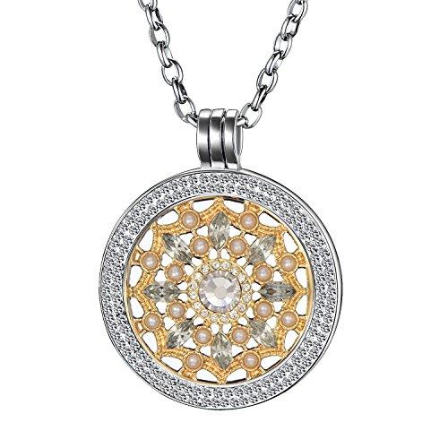 Morella Damen Halskette 70 cm Edelstahl und Zirkonia Anhänger mit Coin Blüte Zirkonia Gold 33 mm im Schmuckbeutel