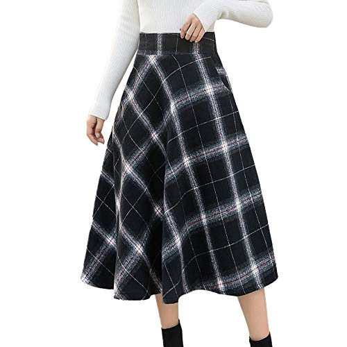 (Maxi Rock Damen Lang Hohe Elastische Taille Maxi Rock A-Linie Plaid Winter Warm Flare Lang Rock Frauen Winter Hohe Taille Rock Lang Plisseerock Rock Böhmischen Elastische Skirt)