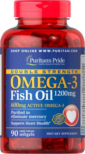 Puritan's Pride Double Strength Omega-3 Fish Oil 1200 mg/600 mg Omega-3-90 Softgels -