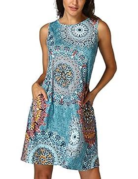 Vestido floral sin mangas de la playa de la fiesta de tarde del verano de Boho Maxi de las mujeres del verano,...
