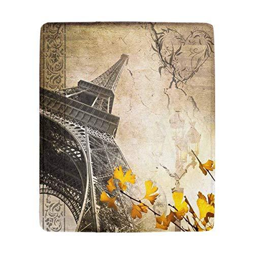 Mesllings Romantische Vintage Paris Collage mit dem Eiffelturm Weiche Überwurfdecke Warm Gemütlich für Couch Sofa Bett Strand Reisen 127 x 152 cm Vintage-olive Wood