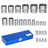 TecTake Juego de llaves de vaso maletin herramientas 24 piezas 1/4' y 1/2'