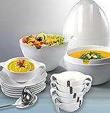 Franquihogar Ovum - Suppenterrine und 12-Teiliges Suppenschüsseln-Set in Hochwertiges Weisses
