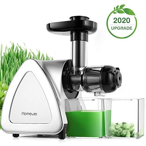 Entsafter Gemüse und Obst, Homever BPA-frei Slow Juicer, Profi Juicer Ausgestattet mit Einem Geräuscharmen Motor& Überspannungschutz&Saftkanne & Reinigungsbürste