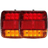 Enjoygoeu 2PCS 20LED Luces Led 12V Traseras de Remolque de Caravana Luz Rojo de Freno Indicador Brillante Universal Impermeable Atrás para Coche Camión Ambar