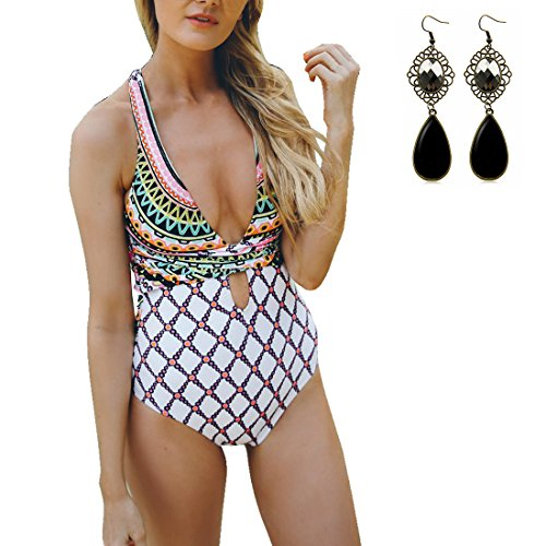 Sitengle Donna Costumi Interi Push up Stampato Floreale Indietro Benda Croce Costumi da Bagno Bikinis Swimsuit Beachwear