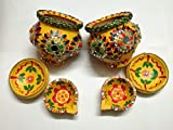 Multi Colored/Decorated/Terracotta/Clay Pot/Diwali/Ganesh Chaturthi/Navratri/Puja/Karva Chauth Kalash with Cover and Diya 2 Set(3 Items Each)