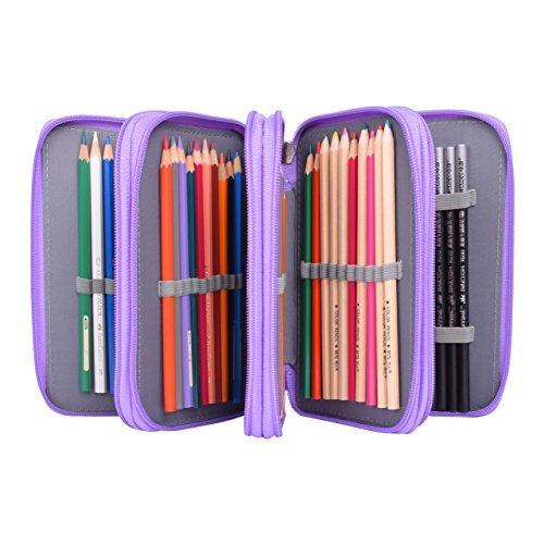 Newcomdigi Federmappe Schüleretui 72 Bleistift Inhaber Farbstifte Mehrzweck Etui Bleistift-Beutel für Schule Büro Kunst (Bleistifte sind nicht enthalten) -violett
