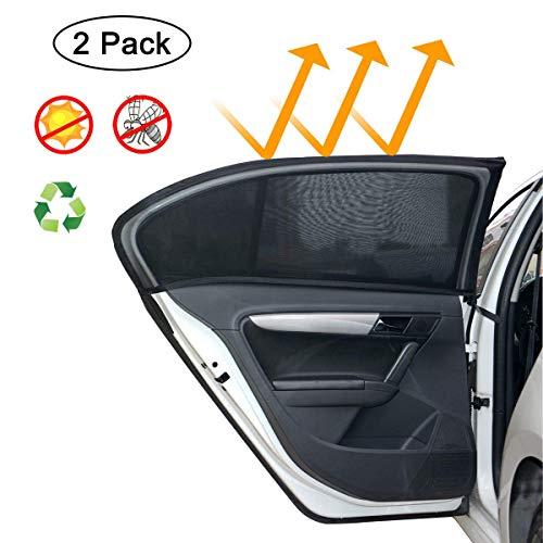 MONOJOY 2 x Auto Sonnenschutz für Baby, Auto Sonnenschutz für SUV Heckscheibe UV-Schutz Auto Sonnenschutz Mesh Protector für Kinder Haustiere, Universal Atmungsaktives Mesh Auto Vorhänge für Autos (L)