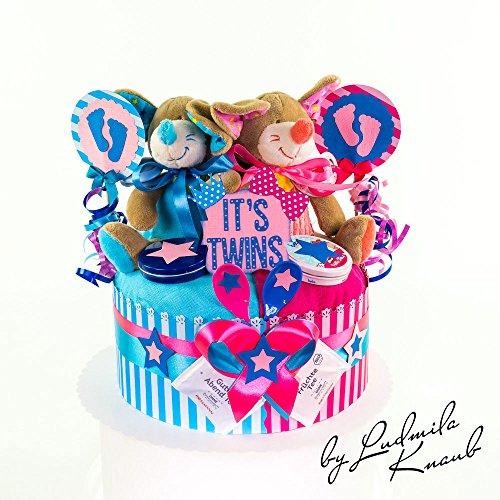 Windeltorte / Pamperstorte >> Babygeschenk für Zwillinge in schönem Blau-Rosaton // Geschenk zur Geburt, Taufe, Babyparty // originelles und praktisches Geschenk für Babys