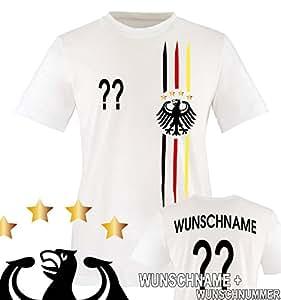 Comedy Shirts - WM 2018 | M1 | VORNE + HINTEN | WUNSCH - Kinder T-Shirt - Weiss/Schwarz-Rot-Gelb Gr. 152-164