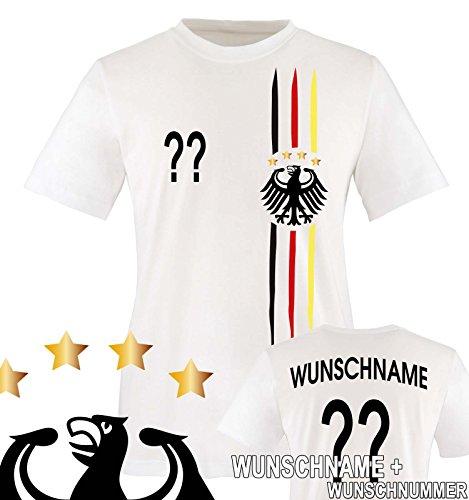 Comedy Shirts - WELTMEISTER 2014 | M1 | VORNE + HINTEN | WUNSCH - Kinder T-Shirt - Weiss / Schwarz-Rot-Gelb Gr. 134-146 (Fußball-kinder-t-shirt)