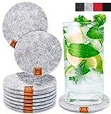 Miqio® Design Glasuntersetzer - Filz und Leder - Waschbar - 10er Set Getränke...
