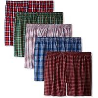 Hanes Ultimate Men's Premium 5-Pack Cotton Plush Waistband Boxers, Tartan Plaid, Large