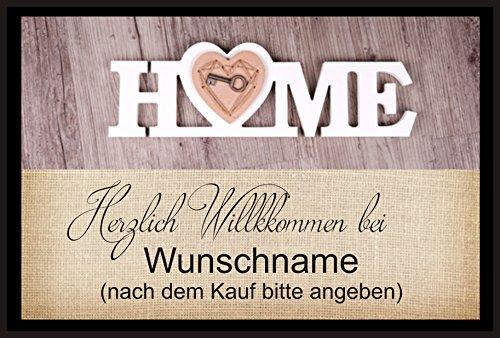 crealuxe Fussmatte Herzlich Willkommen bei mit Wunschname (nach dem Kauf angeben) 71 - Fussmatte bedruckt Türmatte Innenmatte Schmutzmatte lustige Motivfussmatte
