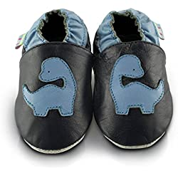 Snuggle Feet - Suaves Zapatos De Cuero Del Bebé Dinosaurio Azul (6-12 meses)
