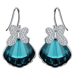 Idea Regalo - Clearine Orecchini Donna-Argento Matrimonio Nuziale Farfalla Conchiglia gancio Ciondolare Orecchini Adornato con Swarovski Cristallo Smeraldo Colore