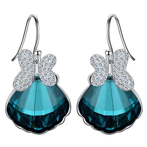 Clearine orecchini donna-argento matrimonio nuziale farfalla conchiglia gancio ciondolare orecchini adornato con swarovski cristallo smeraldo colore