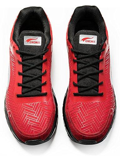 ONEMIX Chaussure de course homme sneakers loisir coussin d'air running cyclisme Rouge/Noir